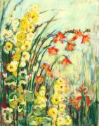 Acrylic. Green Prints - My Secret Garden Print by Jennifer Lommers