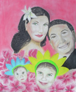 Pastel Portrait Framed Prints - My sisters Family Framed Print by Jose Valeriano