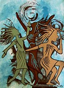 Contemporary Tribal Art Paintings - My Spirit Dances by Jean Fry