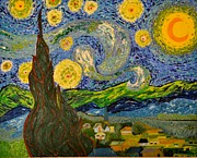 All-star Paintings - My STARRY NIGHT inspired by the Master Vincent Van Gogh by Evelyn SPATZ