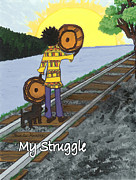African American Men Paintings - My Struggle by Karen-Lee