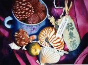 Pine Cones Paintings - My Stuff Still life by Karla Horst