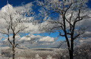 Snowy Mountain Framed Prints - My Sunday Happy Holidays Card Framed Print by Lois Bryan