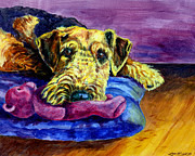 Puppy Paintings - My Teddy Airedale Terrier by Lyn Cook