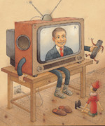 Toys Drawings - My Telly by Kestutis Kasparavicius