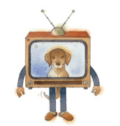 Dog Drawings Metal Prints - My Telly02 Metal Print by Kestutis Kasparavicius