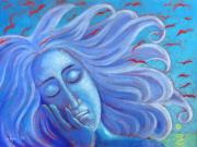 Acrylics Painting Originals - My Thoughts Fly Far Beyond Me by Angela Treat Lyon