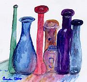 Assorted Painting Framed Prints - My tiny bottles Framed Print by Brenda Elkins