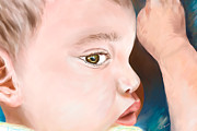 Toddler Portrait Paintings - My Trent by Lisa  Spencer