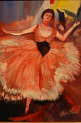 Dancing Girl Paintings - My Version of Dega Ballerina by Lynn Beazley Blair