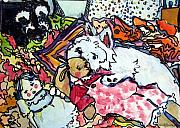 Westie Pup Posters - My Westie Milly and Her Toys Poster by Mindy Newman