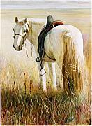 Diversity Paintings - My White Horse  by Ji-qun Chen