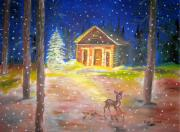 Snow Picture Paintings - My winter story by Eli Marinova