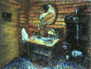 Wyoming Paintings - My Wyoming Cabin by Candlelight by Willoughby  Senior