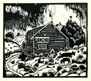 Log Cabin Drawings Prints - My Wyoming Cabin in Winter Print by Dawn Senior-Trask