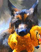 Toy Dog Paintings - My Yellow Friend by Jai Johnson