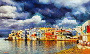 Surreal Landscape Painting Metal Prints - Myconos clasic Metal Print by George Rossidis