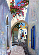Greek Paintings - Mykonos Archway by Roelof Rossouw