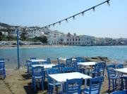 Blue Chairs Posters - Mykonos Blue and White Poster by Julie Palencia