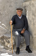 Greece Photos - Mykonos Man With Walking Stick by Madeline Ellis