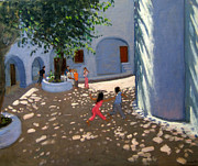Children Playing Paintings - Mykonos monastery by Andrew Macara