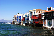 Popular Culture Framed Prints - Mykonos Sea View Framed Print by John Rizzuto
