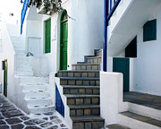 Greek Islands Posters - Mykonos Stairs Poster by Rebecca Margraf