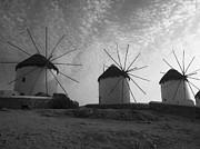 Mykonos Windmills Print by Leslie Leda