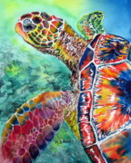 Reptile Paintings - Myrtle the Turtle by Maria Barry