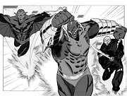 Superheroes Drawings - Mysfits 2 page spread grayscale by Steven Ting