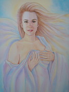 Mysterious Woman Paintings - Mysterious Angel by Holly LaDue Ulrich