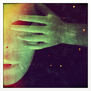 Alien Mask Posters - Mysterious Hand Over Mask Poster by Jill Battaglia
