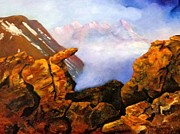Southwest Indians Paintings - Mysterious Mountain by Janis  Tafoya