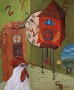 Cuckoo Painting Framed Prints - Mysterious Time Framed Print by Debbie McCulley
