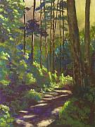 Hiking Pastels Posters - Mysterious Wood Poster by Mary McInnis