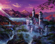 Fantasy Illustrations Prints - Mystery Castle Print by David Lloyd Glover