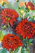 Dahlias Prints - Mystery Day Dahlias Print by Brenda Williams