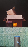 Boxes Paintings - Mystery by Hernan Miranda