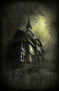 Halloween House Posters - Mystery light Poster by Svetlana Sewell
