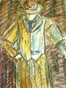 Earth Tones Drawings - Mystery Man by Cathie Richardson