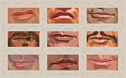 Great Digital Art Posters - Mystery Mouths of the Action Genre Poster by Mitch Frey