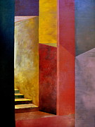 Cubism Paintings - Mystery Stairway by Michelle Calkins