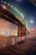 Brooklyn Bridge Posters - Mystic Brooklyn Poster by Mike Lindwasser Photography