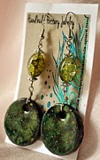Whimsical Art Ceramics - Mystic Jaded Duo Earrings by Amanda  Sanford