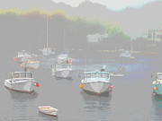 Christy Bruna Prints - Mystic Maine Lobster Boats Print by Christy Bruna
