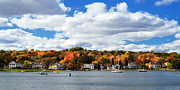 Classic New England Posters - Mystic River in Autumn Poster by Stephanie McDowell