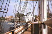 On Deck Prints - MYSTIC SEAPORT WINDJAMMERS vintage tall sailing ships Charles Morgan picture decor Print by John Samsen