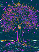 Comets Posters - Mystic Spiral Tree 1 purple Poster by First Star Art
