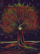 Mystical Landscape Mixed Media Posters - Mystic Spiral Tree red by jrr Poster by First Star Art