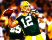 Football Drawings Framed Prints - Mystical Aaron Rodgers Framed Print by Paul Van Scott